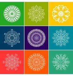 White floral mandala set over color vector