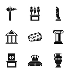 Stay in museum icons set simple style vector
