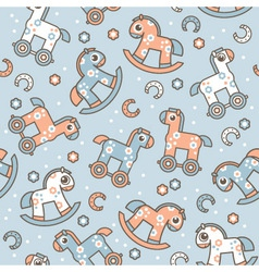 Seamless pattern with cute horses vector