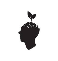 Flat icon in black and white ecological thinking vector image