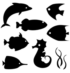 Fish silhouettes set 2 vector