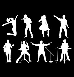 Set of white silhouettes of musicians singers and vector