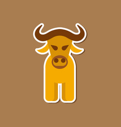 Paper sticker on stylish background cartoon bull vector