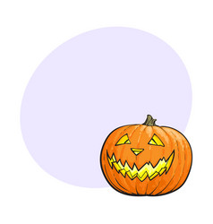 Jack o lantern pumpkin with scary face vector