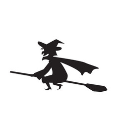 Witch on a broomstick in silhouette vector