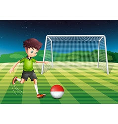 A player kicking the ball with the flag of vector image