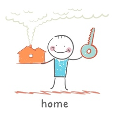 man with a house and key vector image