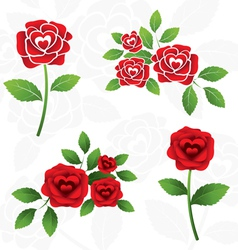 Red roses heart shape inside vector