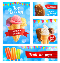 3d ice cream cafe shop posters banners vector image vector image