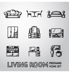 Set of living room freehand icons - sofa dining vector