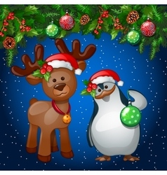 Christmas card with penguin and a reindeer vector