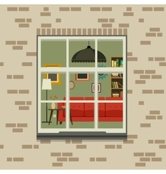 Window in brick wall vector