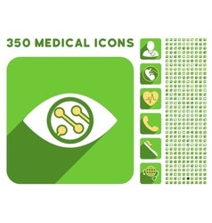Smart lens icon and medical longshadow icon set vector