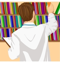 Young male doctor taking book from shelf vector