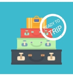 Travel concept with suitcases Flat vector image