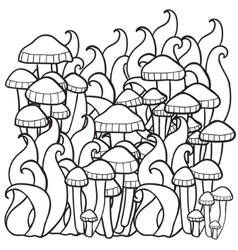 Mushrooms in the forest vector image
