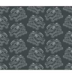 Seamless pattern with roller skates on a gray vector