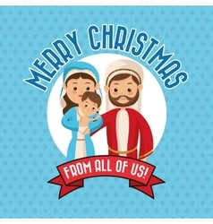 Holy family icon merry christmas design vector