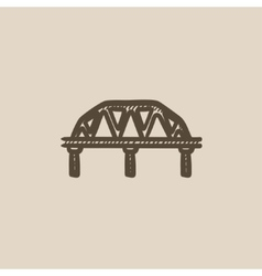 Rail way bridge sketch icon vector