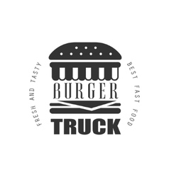 Fresh and tasty burger food truck label design vector