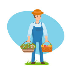 a farmer with baskets full of flowers vegetables vector image