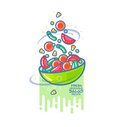 a fresh different vegetables and a bowl kawaii ill vector image