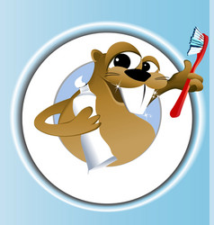 Beaver cleaning teeth vector