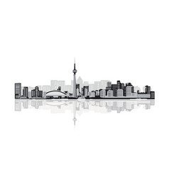 black and white contour of the big city vector image