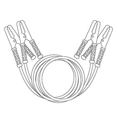 Car jumper power cables contour vector
