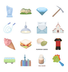 City dessert fan and other web icon in cartoon vector