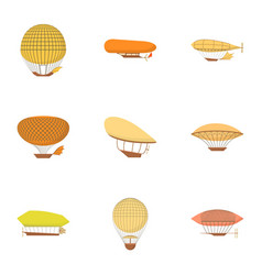 Dirigible icons set cartoon style vector