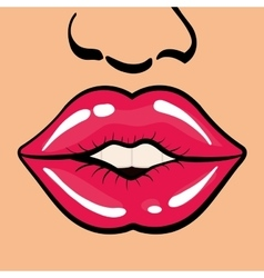 Female mouth icon Pop art design graphic vector image