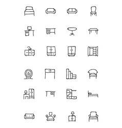 Furniture hand drawn icons 1 vector