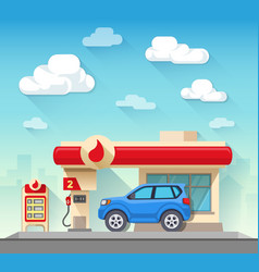 Gas station flat style vector image vector image