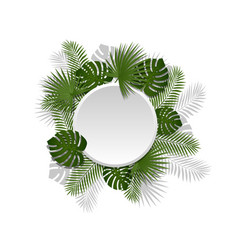 Green summer tropical round element with exotic vector
