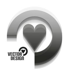 Grey 3d heart design vector image vector image