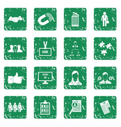Human resource management icons set grunge vector