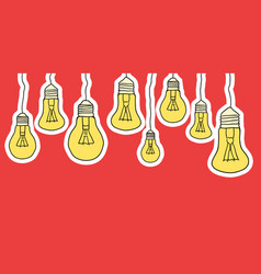 Linear of cartoon hanging light bulbs on red vector