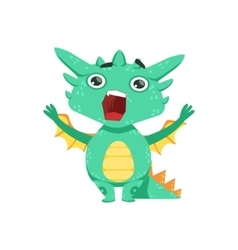 Little anime style baby dragon shouting and vector