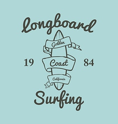 Longboard surfing typography t-shirt graphics vector