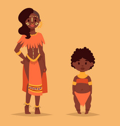 Maasai african people in traditional clothing vector