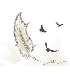 old feather paint with flying birds and open book vector image