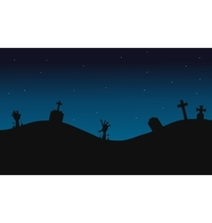 Scary graves halloween backgrounds silhouette vector image