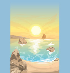 seascape sunset landscape vector image vector image