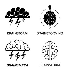 set of brain brainstorming idea icons vector image vector image