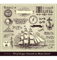 set of travel symbols vector image
