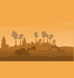 Silhouette of industry with pollution bad vector