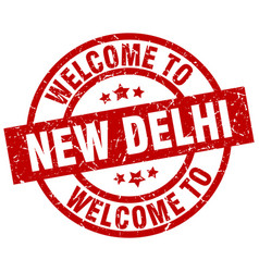 Welcome to new delhi red stamp vector