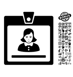 Woman badge flat icon with bonus vector