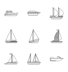 Yacht icons set outline style vector image vector image